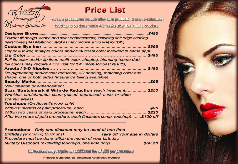 Accent permanent makeup home page for New home price list